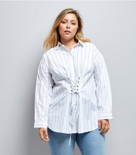 Curves White Stripe Corset Shirt | New Look