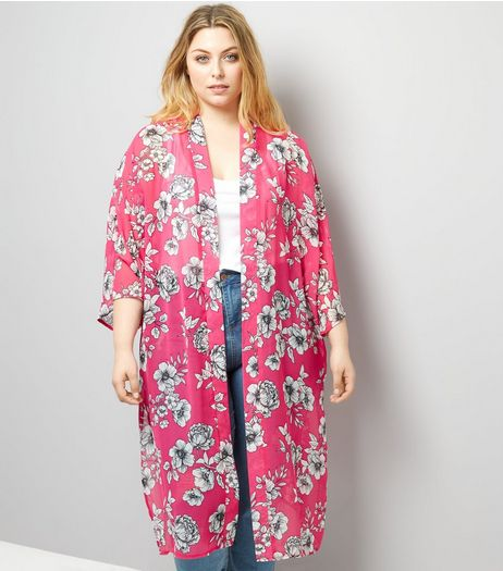 Curves Pink Floral Print Chiffon Kimono | New Look