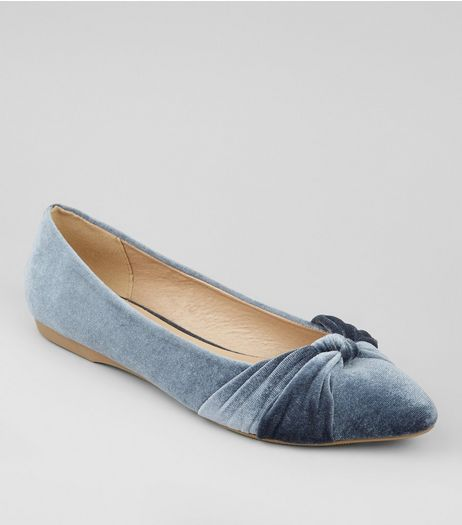 Pale Blue Velvet Knot Front Pumps  | New Look