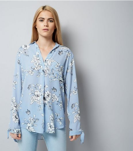 Blue Stripe Floral Print Tie Sleeve Shirt | New Look