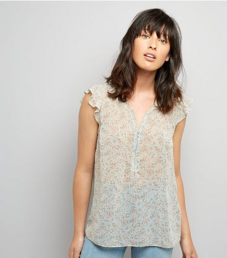 Pale Blue Floral Print Zip Front Top | New Look