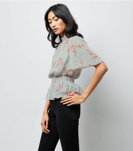 Green Floral Shirred Waist Blouse | New Look