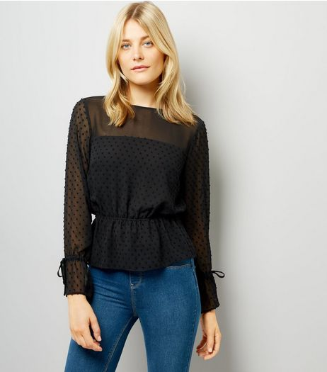 Black Spot Textured Chiffon Top  | New Look
