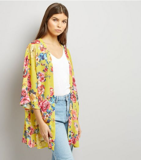 Yellow Floral Print 3/4 Sleeve Kimono | New Look