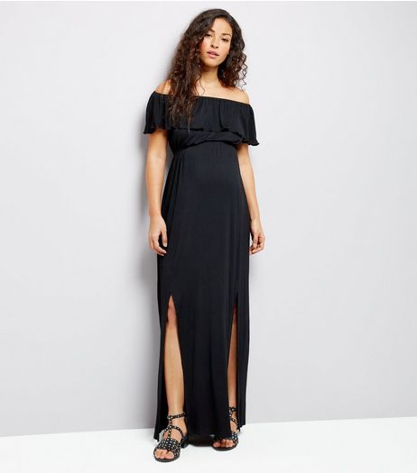 Maternity Black Frill Trim Bardot Neck Maxi Dress | New Look
