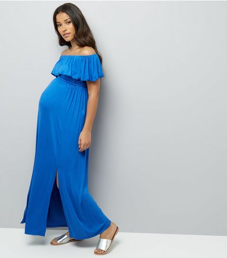 Maternity Blue Frill Trim Bardot Neck Maxi Dress | New Look