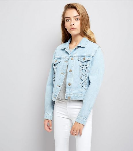Teens Blue Lace Up Denim Jacket | New Look