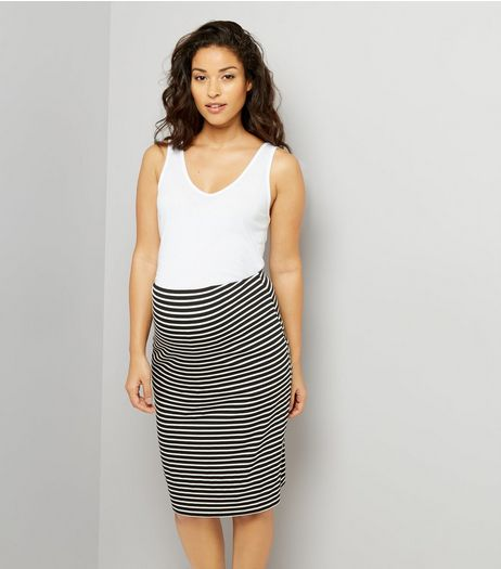 Maternity Black Stripe Jersey Midi Skirt | New Look
