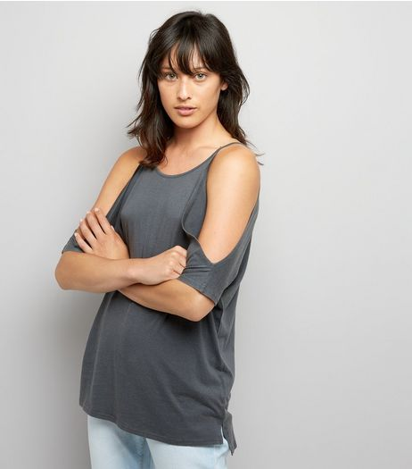Grey Cold Shoulder T-Shirt | New Look