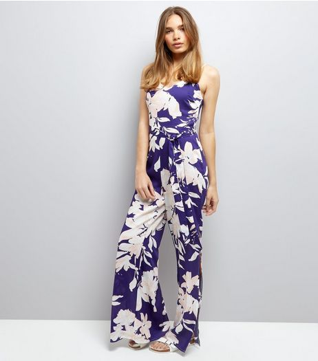 Parisian Blue Floral Print Split Leg Jumpsuit | New Look