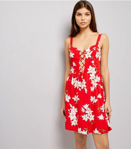 Parisian Red Floral Print Lattice Front Dress | New Look