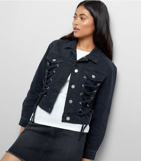 Petite Black Lace Up Front Denim Jacket | New Look