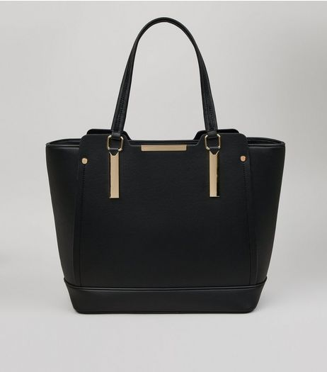 Black Metallic Trim Structured Tote Bag | New Look