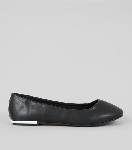 Wide Fit Black Metal Heel Ballerina Pumps | New Look