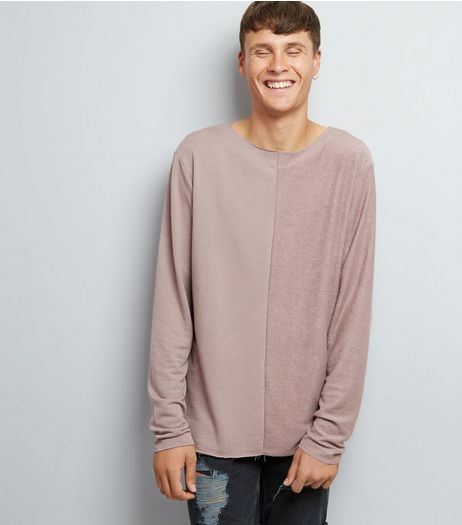 Light Purple Spliced Raw Hem Sweater | New Look