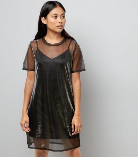 Petite Black Metallic Mesh Tunic Dress | New Look