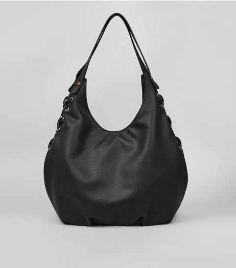 Black Textured Lace Side Hobo Bag | New Look