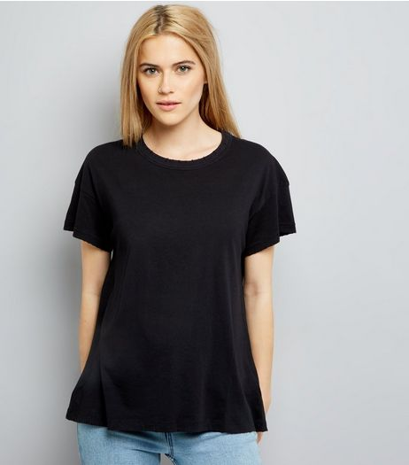 Black Distressed Edge T-Shirt | New Look