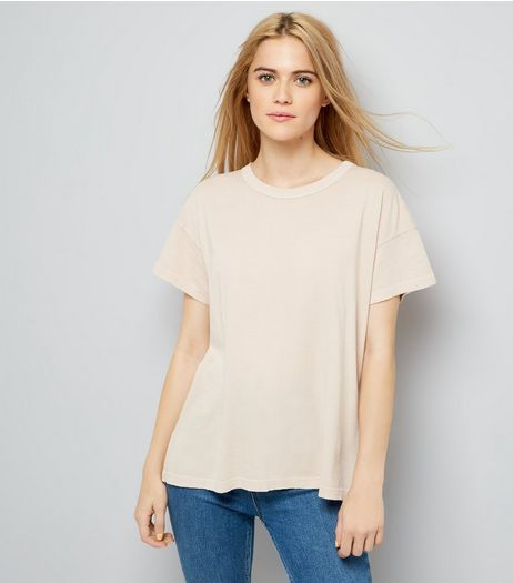 Light Brown Distressed Edge T-Shirt | New Look