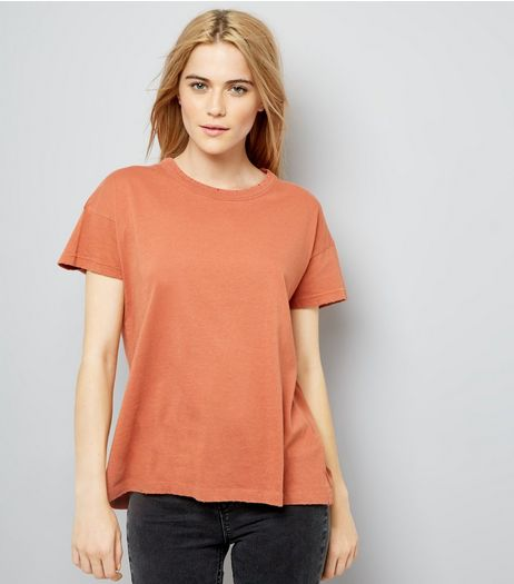 Coral Distressed Edge T-Shirt | New Look