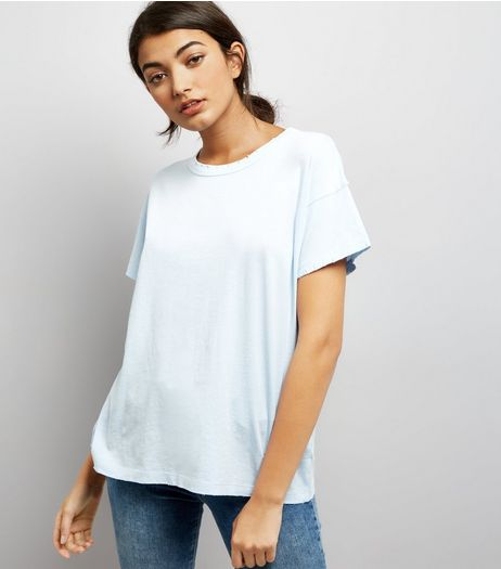 Blue Distressed Edge T-Shirt  | New Look