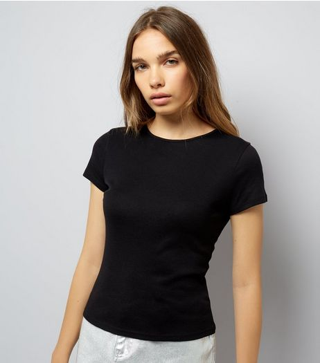 Black Fitted T-Shirt  | New Look