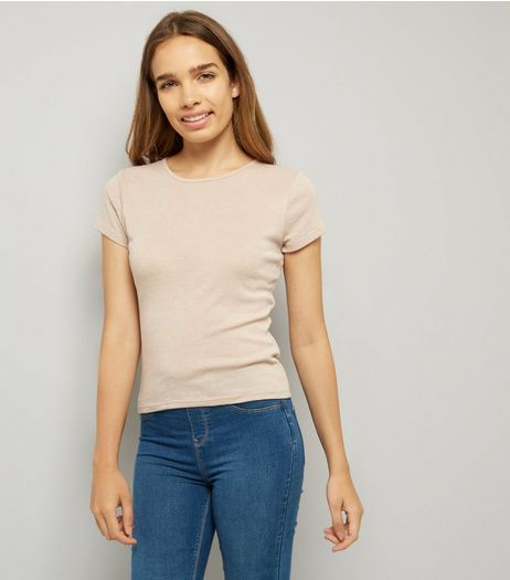 Light Brown Fitted T-Shirt | New Look