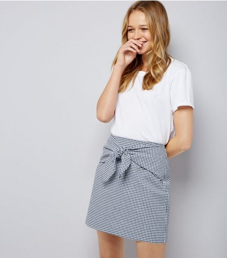 Blue Gingham Tie Front Mini Skirt  | New Look