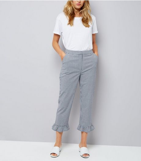 Blue Gingham Frill Hem Trousers | New Look