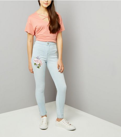 Teens Light Blue Floral Print High Waist Skinny Jeans | New Look