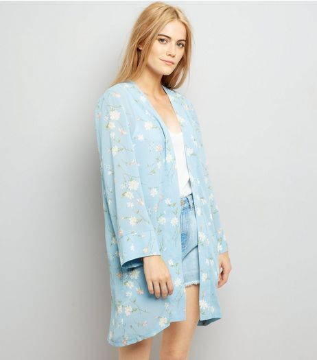 Cameo Rose Blue Floral Print Kimono | New Look