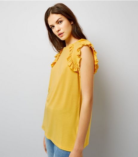 Anita and Green Yellow Frill Trim Top  | New Look