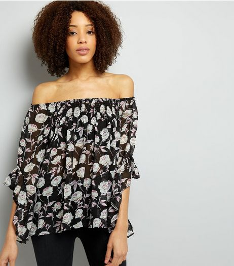 Blue Vanilla Black Floral Print Bardot Neck Top  | New Look