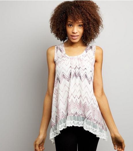 Blue Vanilla Pink Zig Zag Lace Trim Top | New Look