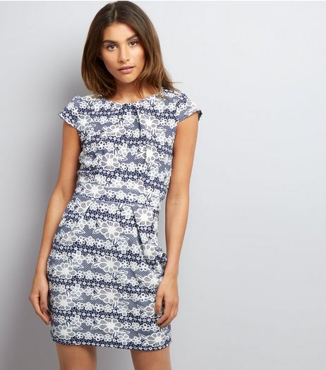 Blue Vanilla Navy Floral Lace Print Tulip Dress | New Look