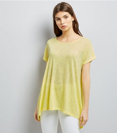 Yellow Hanky Hem T-Shirt  | New Look