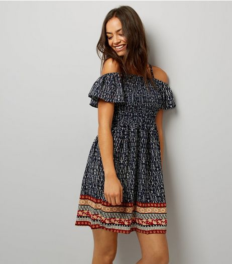 Blue Vanilla Navy Abstract Print Shirred Dress | New Look