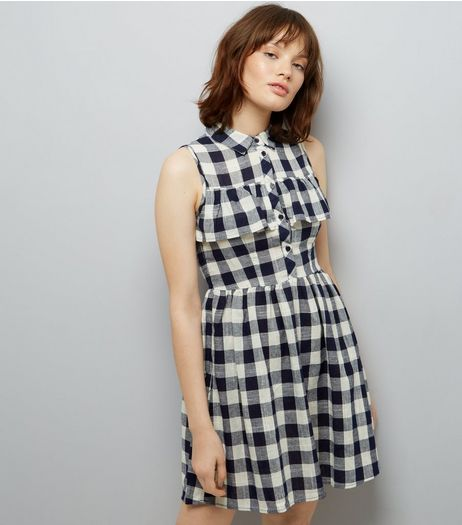 Blue Vanilla Navy Gingham Check Frill Trim Dress  | New Look
