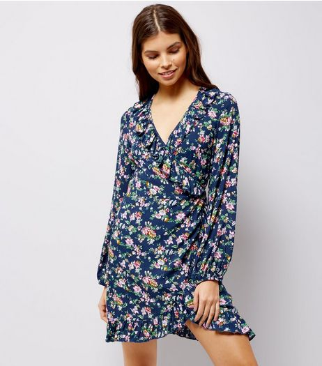 Blue Vanilla Navy Floral Print Wrap Front Dress | New Look