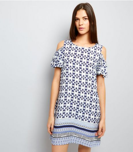 Blue Vanilla White Tile Print Cold Shoulder Shift Dress | New Look