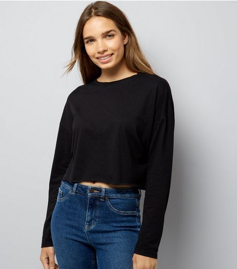 Black Raw Hem Long Sleeve Crop Top | New Look