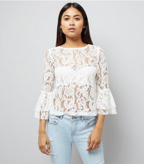 Petite White Lace Bell Sleeve Top | New Look