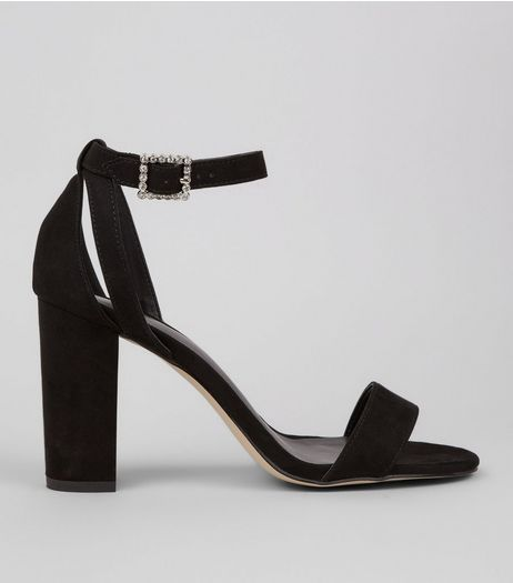 Black Suedette Diamante Ankle Strap Block Heels  | New Look