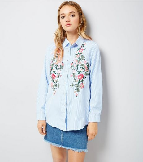 Cameo Rose Blue Stripe Floral Embroidered Shirt | New Look