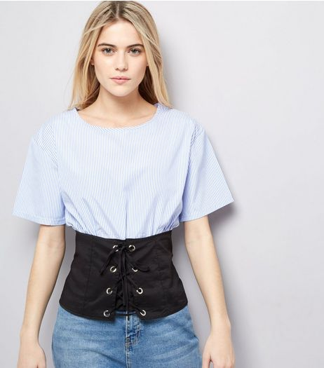 Cameo Rose Blue Corset Hem Top  | New Look