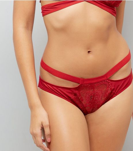 Red Lace Strappy Briefs | New Look