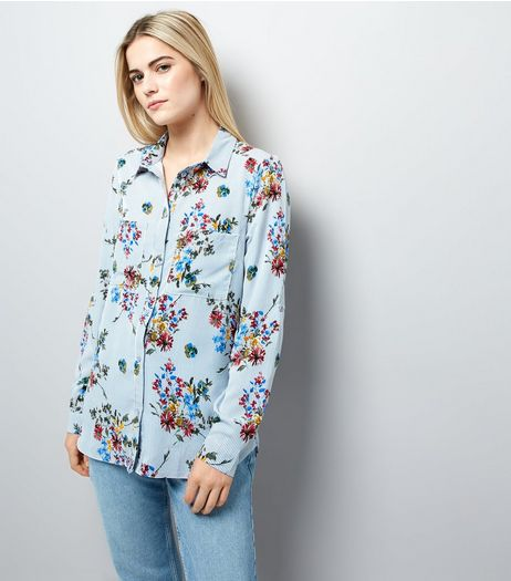 Cameo Rose Blue Stripe Floral Print Shirt | New Look