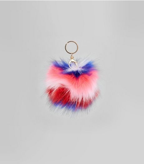 Multicoloured Stripe Faux Fur Pom Pom | New Look