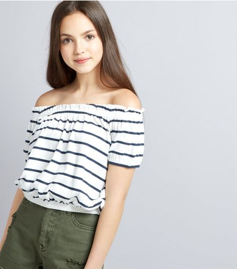 Teens White Stripe Bardot Neck Top  | New Look