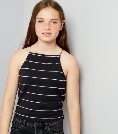 Teens Black Stripe High Neck Cami  | New Look